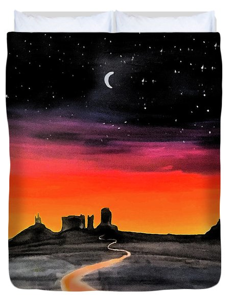 dusk in Monument Valley Duvet Cover