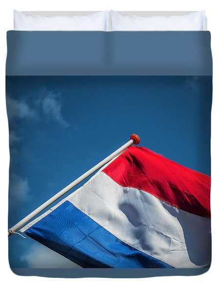 Duvet Cover featuring the photograph Dutch Flag by Anjo Ten Kate