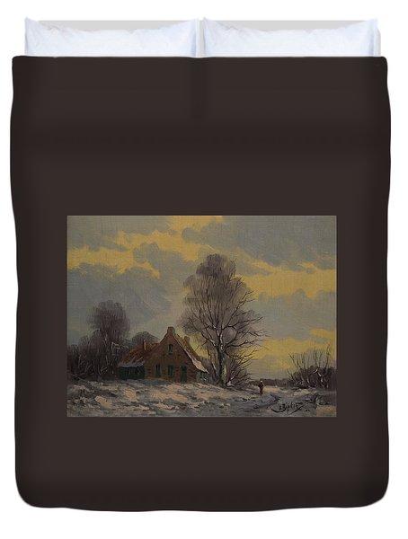 Dutch Snow Landscape Duvet Cover