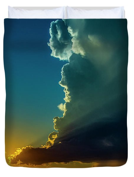 Dying Nebraska Thunderstorms At Sunset 068 Duvet Cover