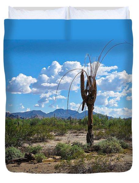 Dying Saguaro In The Desert Duvet Cover