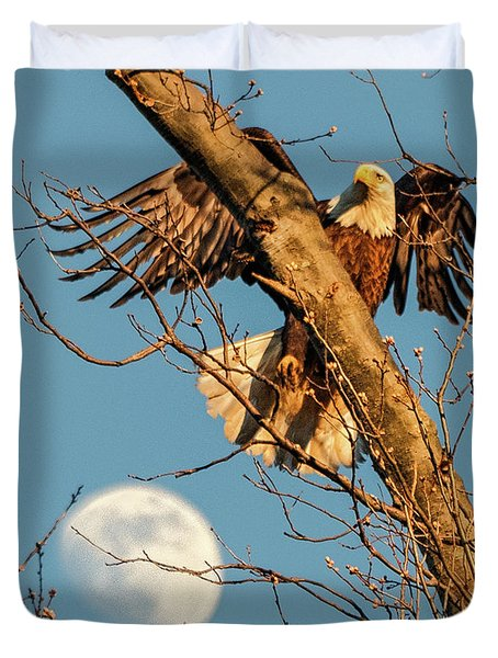 Eagle And Moon  Duvet Cover