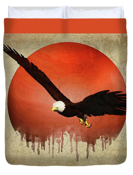 Duvet Cover featuring the digital art Eagle Flying by Jan Keteleer
