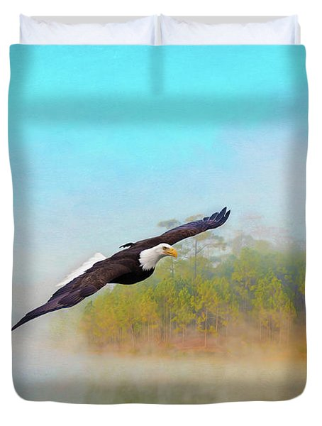 Eagle Out Of The Mist Duvet Cover