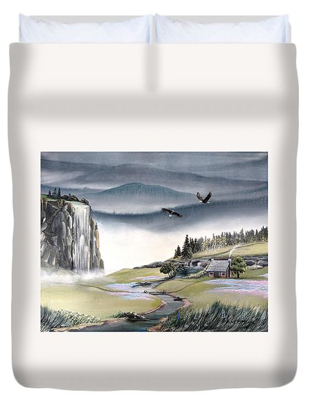 Duvet Cover featuring the painting Eagle View by Deleas Kilgore