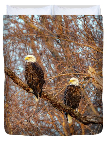 Eagles Watching The Sunset Duvet Cover