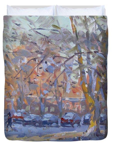 Early Morning Winter Scene Duvet Cover