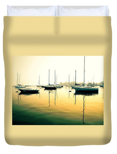 Early Mornings At The Harbour Duvet Cover