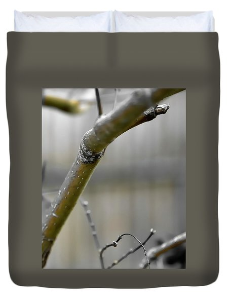 Duvet Cover featuring the photograph Early Winter Branch by Jerry Sodorff
