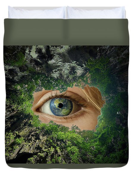 Earth Is Watching You Duvet Cover