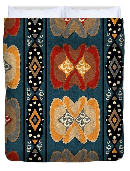 East African Heart And Diamond Stripe Pattern Duvet Cover