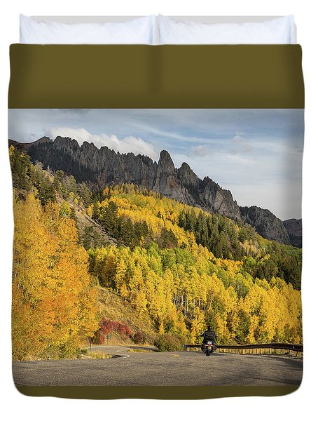 Duvet Cover featuring the photograph Easy Autumn Rider by James BO Insogna