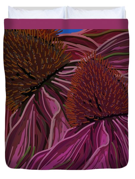 Echinacea Flower Blues Duvet Cover