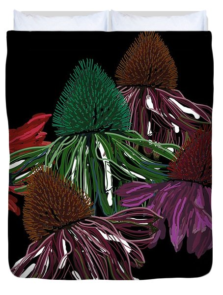 Echinacea Flowers With Black Duvet Cover