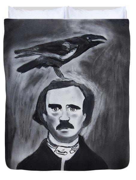 Edgar Allen Poe Drawing Duvet Cover