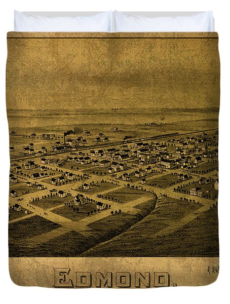 Edmond Oklahoma Vintage City Street Map 1891 Duvet Cover