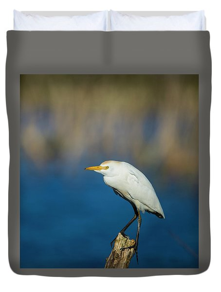 Egret On A Stick Duvet Cover