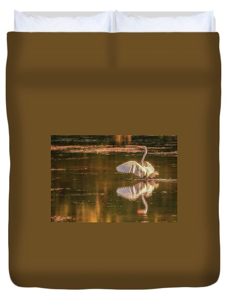 Egret Reflections 2 Duvet Cover