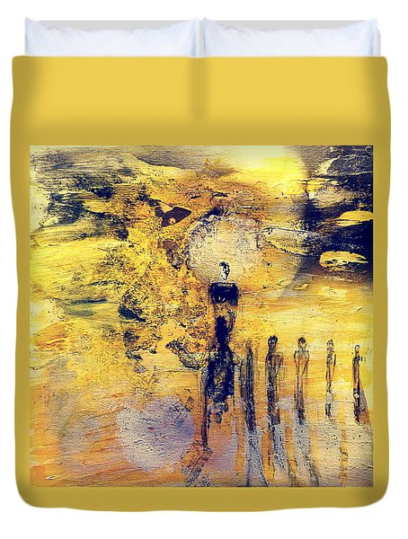 Duvet Cover featuring the painting Elaine by 'REA' Gallery