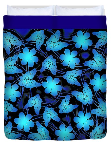 Duvet Cover featuring the mixed media Electric Blue Floral  by Rachel Hannah