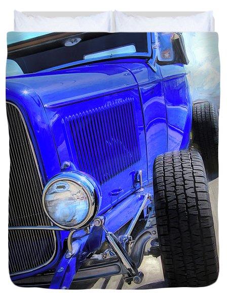Electric Blue Hot Rod Roadster Duvet Cover