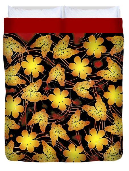 Electric Gold Floral  Duvet Cover