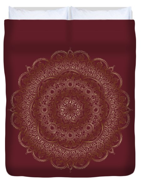 Duvet Cover featuring the painting Elegant Golden Mandala Buddhist Symbol by Georgeta Blanaru