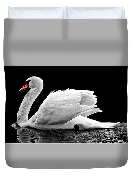 Duvet Cover featuring the photograph Elegant Swan by Top Wallpapers