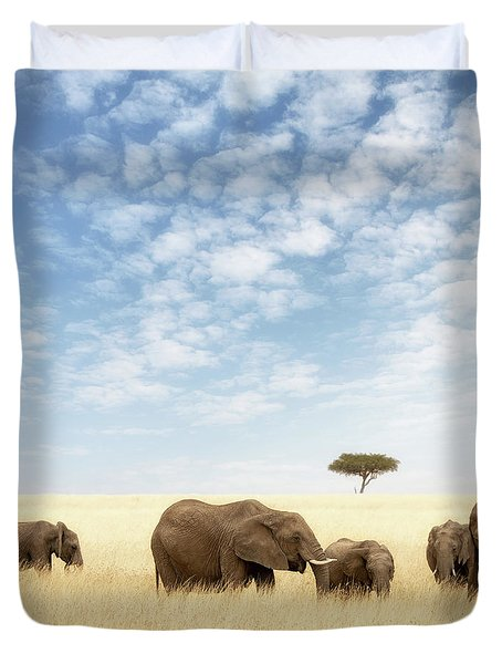 Elephant Group In The Grassland Of The Masai Mara Duvet Cover