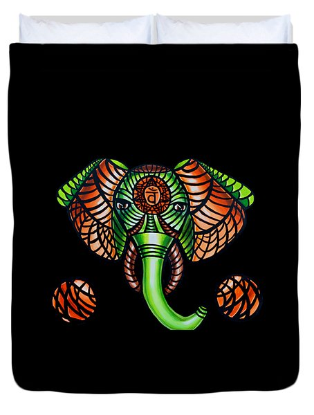 Elephant Head Painting Sacral Chakra Art Zentangle Elephant African Tribal Artwork Duvet Cover