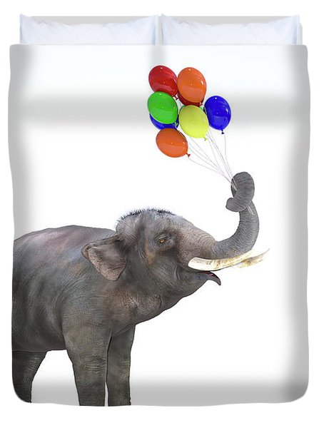 Elephant With Balloons Duvet Cover