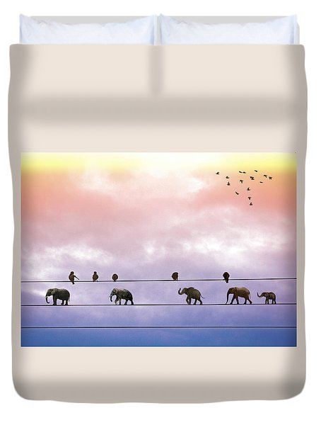 Elephants On The Wires Duvet Cover