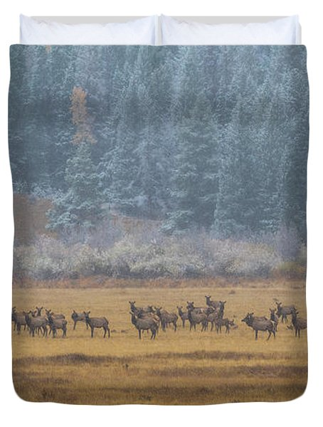 Elk On A Snowy Autumn Day Duvet Cover