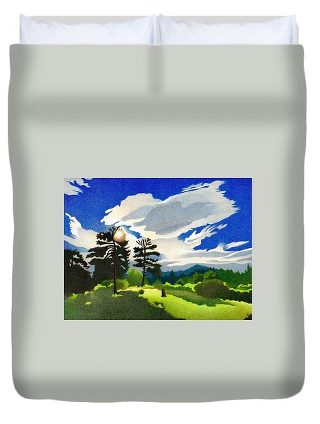 Duvet Cover featuring the drawing Elk Ridge Twilight by Dan Miller
