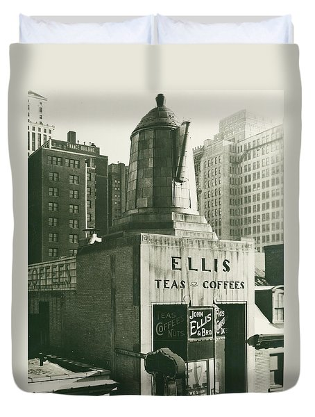 Ellis Tea And Coffee Store, 1945 Duvet Cover