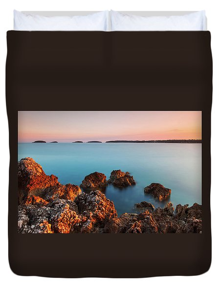 Duvet Cover featuring the photograph Ember And Blue by Davor Zerjav