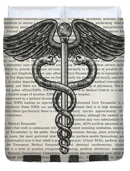 Emergency Medical Technician Gift Idea With Caduceus Illustratio Duvet Cover