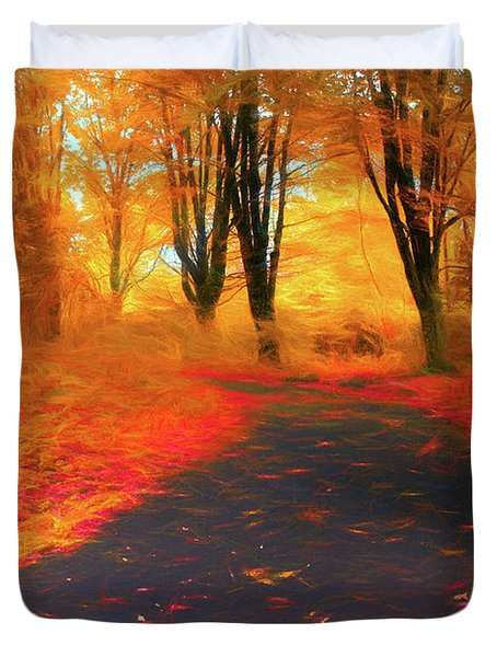 Emmaus Community Park Path - Colors Of Fall Duvet Cover