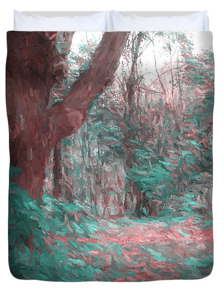 Emmaus Community Park Trail With Large Tree Duvet Cover