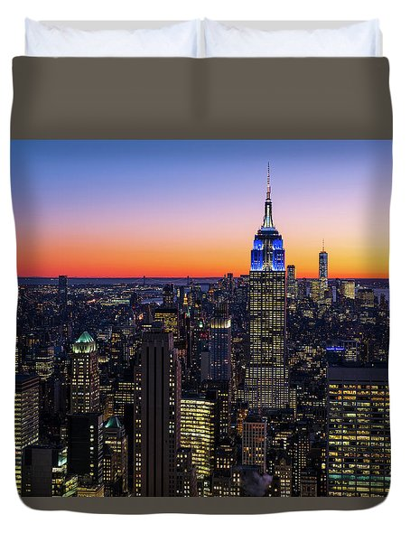 Empire State Building And Lower Manhattan At Sunset Duvet Cover