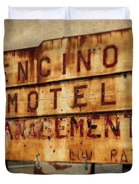 Duvet Cover featuring the photograph Encino Hotel by Lou Novick