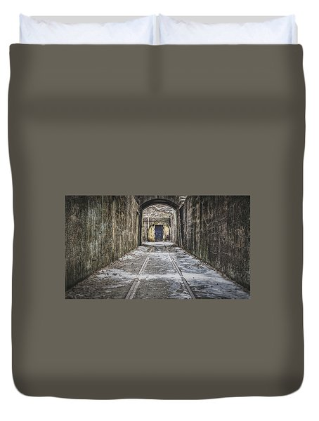 Duvet Cover featuring the photograph End Of The Tracks by Steve Stanger