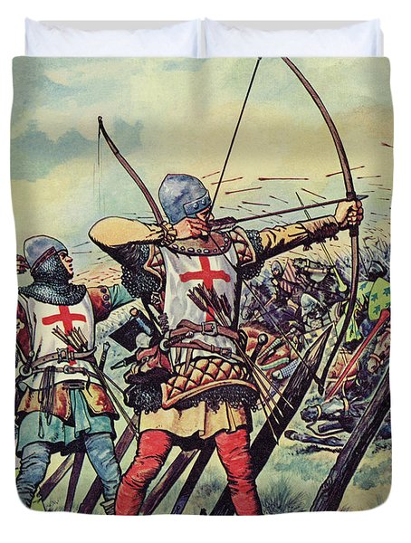 English Bowmen At The Battle Of Crecy Duvet Cover
