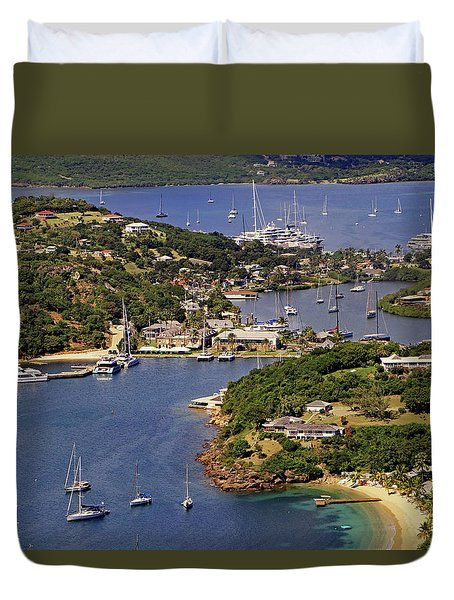 Duvet Cover featuring the photograph English Harbour by Tony Murtagh