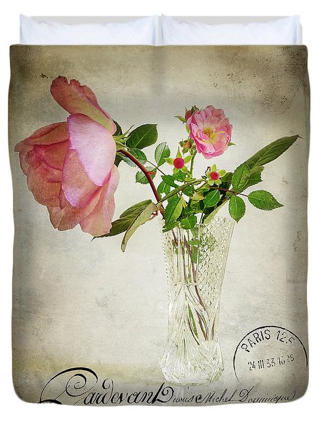 Duvet Cover featuring the digital art English Rose by Edmund Nagele