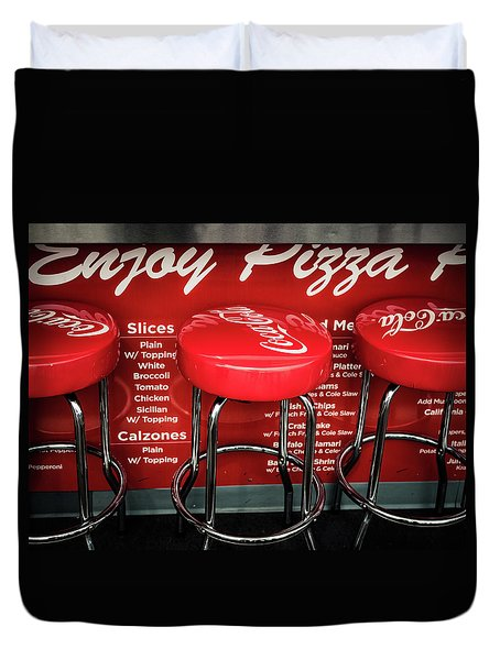 Duvet Cover featuring the photograph Enjoy Pizza And A Coke by Steve Stanger