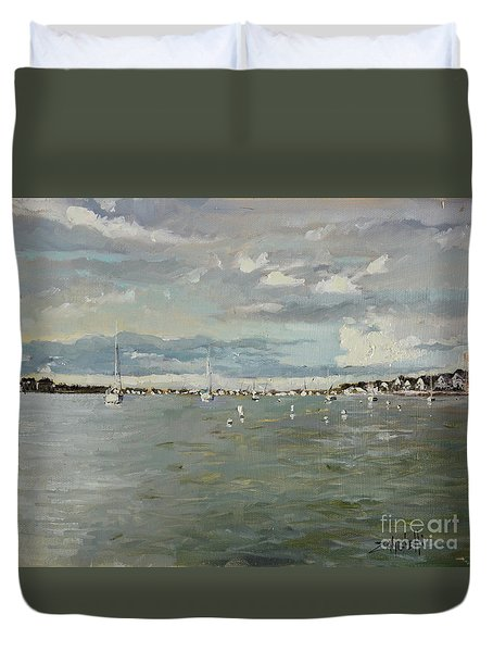 Entering Sunset Marina Duvet Cover