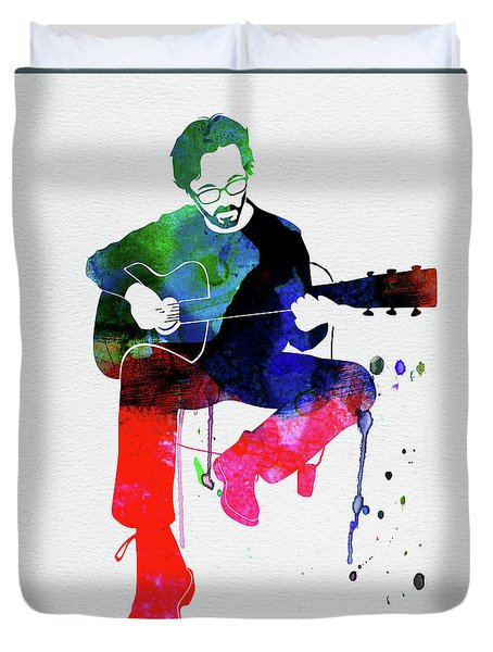 Eric Clapton Watercolor Duvet Cover