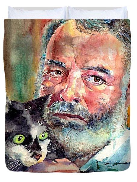Ernest Hemingway Portrait Duvet Cover