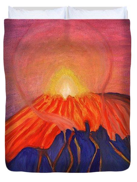 Erupting Volcano Duvet Cover